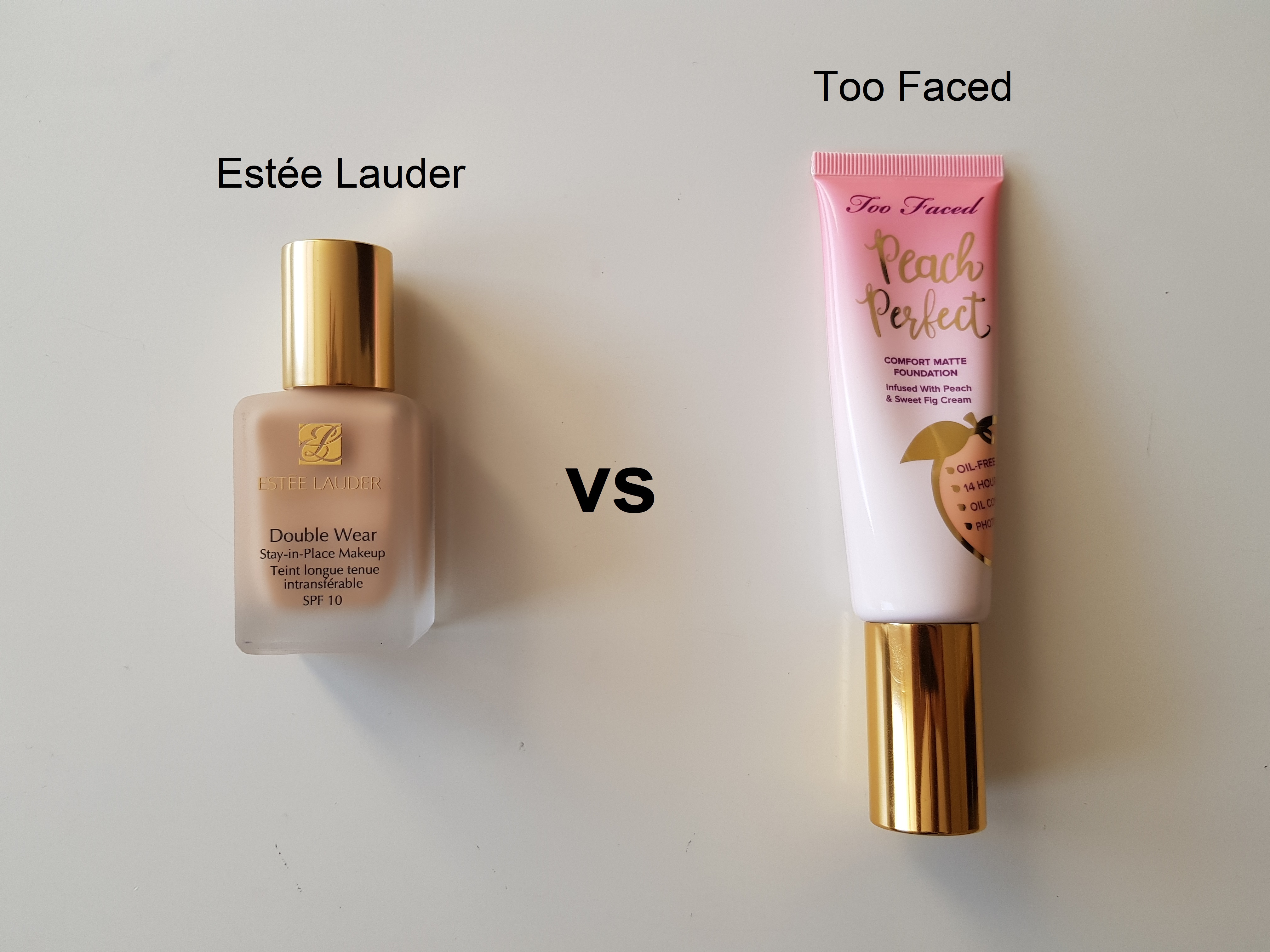Three Way Battle Of Foundations Estee Lauder Double Wear Vs Too Faced Peach Perfect Vs Too Faced Born This Way Bonds Of Beauty