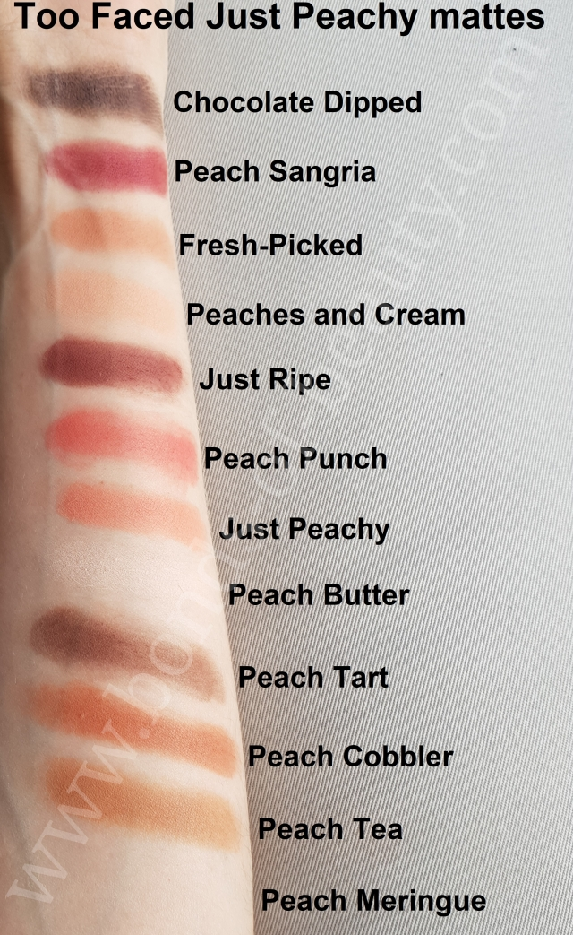 Too Faced Just Peachy mattes swatches_20171008171529866