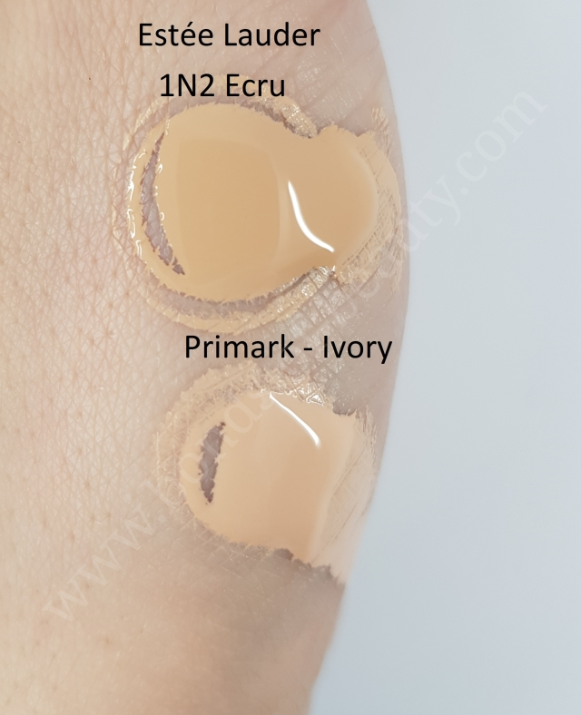 Estee Lauder Double Wear vs Primark My Perfect Colour Foundation swatches_20180408105104441