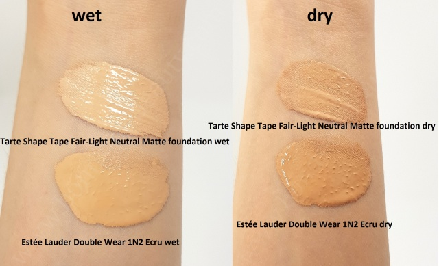 Estée Lauder Double Wear VS Tarte Shape Tape Matte Foundation 13_20180606141747135