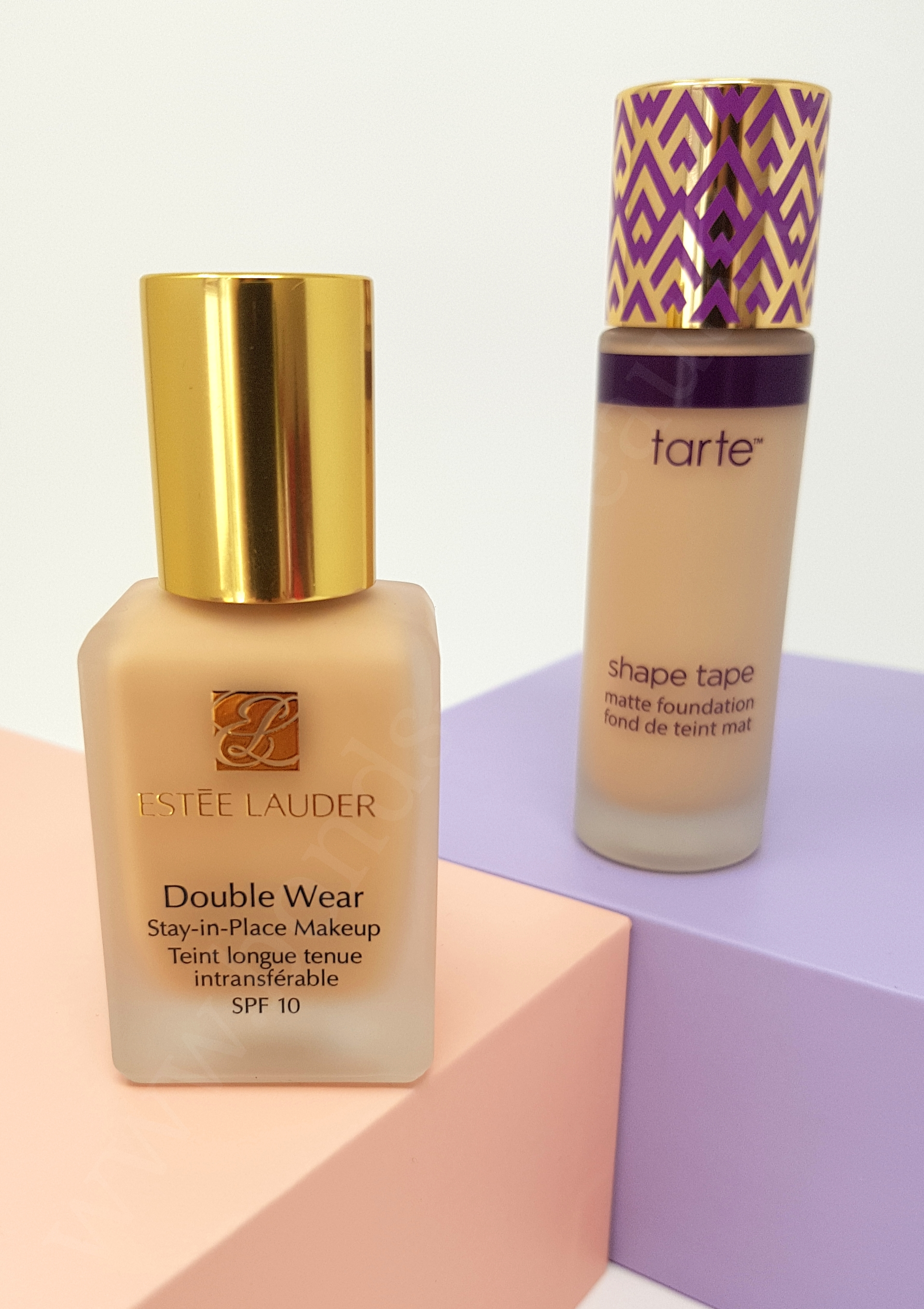 Battle Of The Foundations Estee Lauder Double Wear Vs Tarte Shape Tape Matte Foundation In Depth Reviews And Ingredient Analyses Bonds Of Beauty