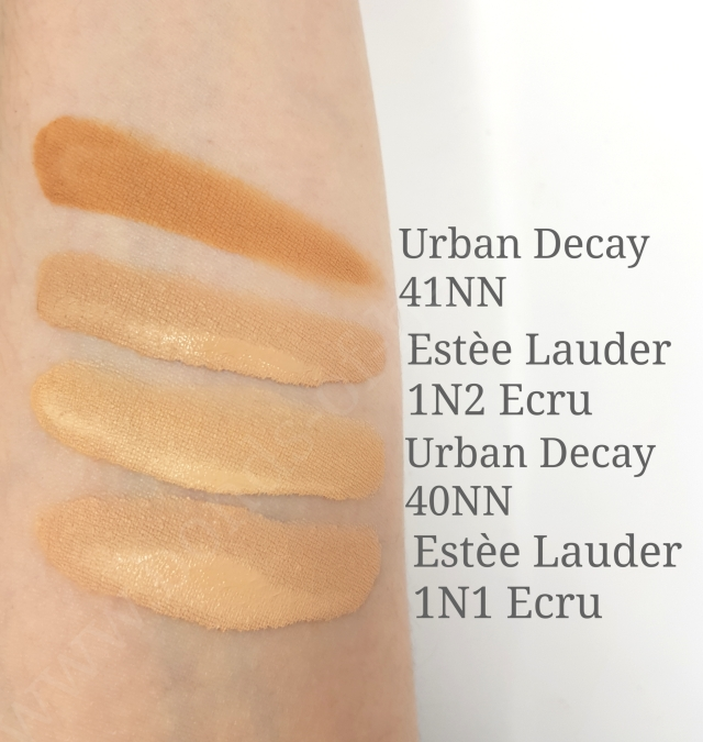 Estee Lauder DW vs Urban Decay Stay Naked swatches